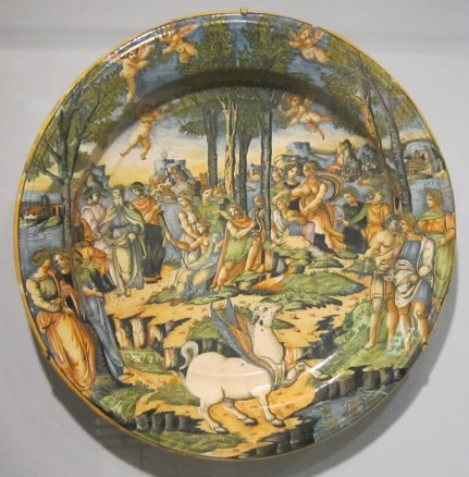 'Apollo_and_Muses_on_Mount_Parnassus',_tin-glazed_earthenware_plate,_Cincinnati